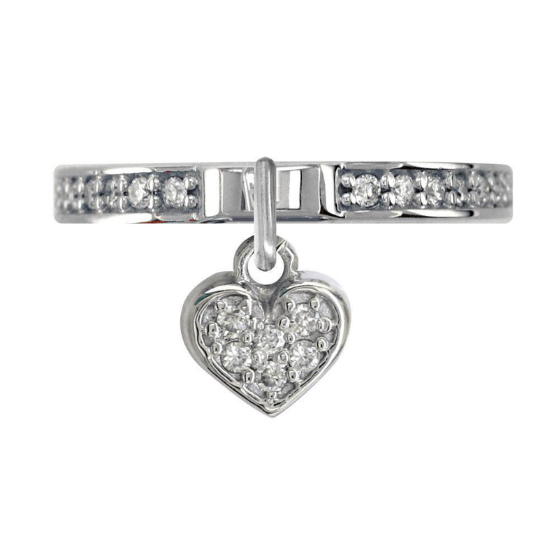 Cubic Zirconia Heart Charm Ring in Sterling Silver
