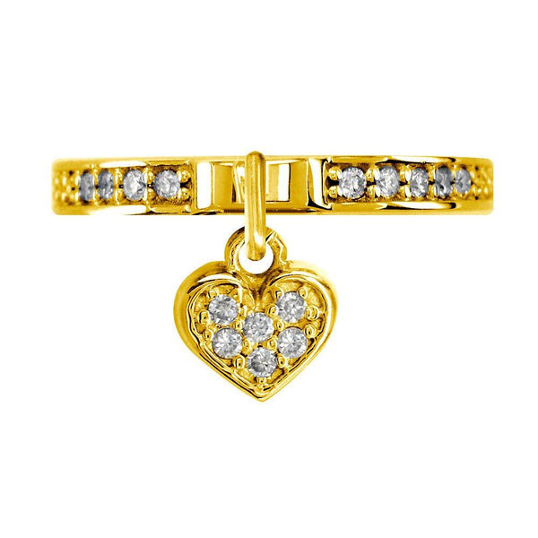 Diamond Heart Charm Ring in 14k Yellow Gold, 0.20CT