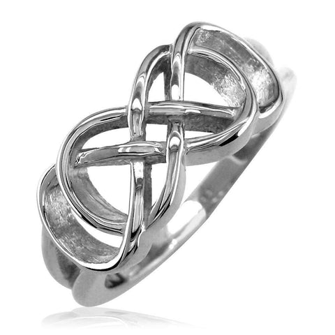 Double Infinity Symbol Ring,Best Friends Forever Ring,8mm in 14k White Gold