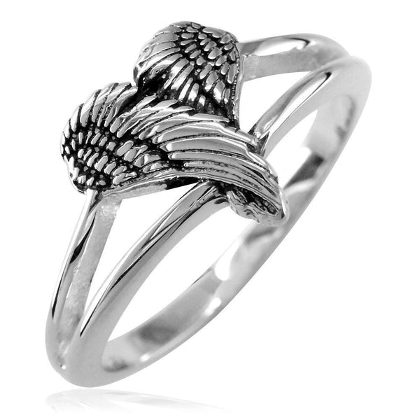 Small Angel Heart Wings Ring with Black, Wings Of Love, 12mm in Sterling Silver