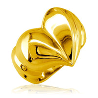 Large Contemporary Heart Ring in 14k Yellow Gold