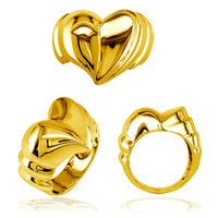 Large Contemporary Heart Ring in 18k Yellow Gold