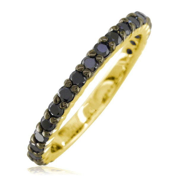 Black Diamond Band, 0.70CT in 14k Yellow Gold