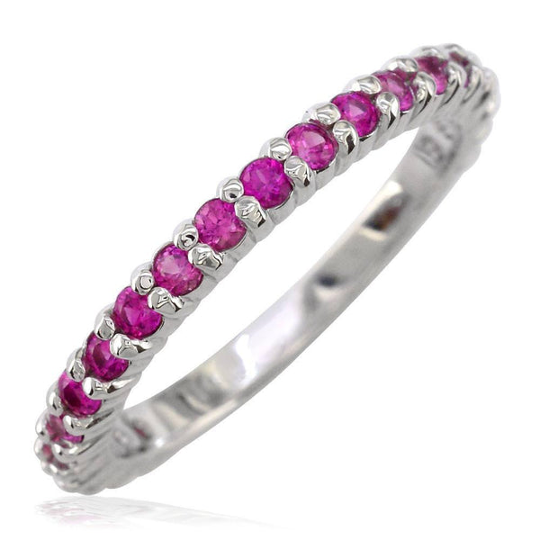 Pink Sapphire Band, 0.70CT in 14k White Gold