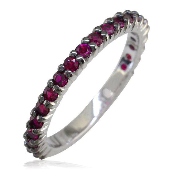 Ruby Band with Black, 0.70CT in 14k White Gold