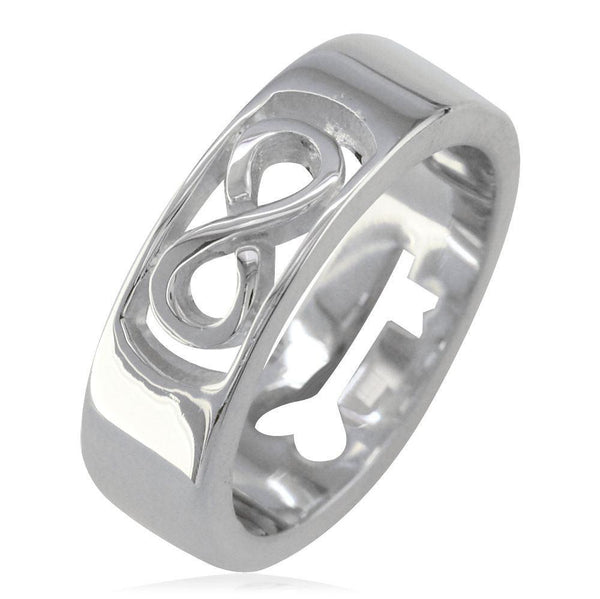 Infinity and Key Wedding Band, 6mm, Sizes 8.5 to 13.5 in 14k White Gold