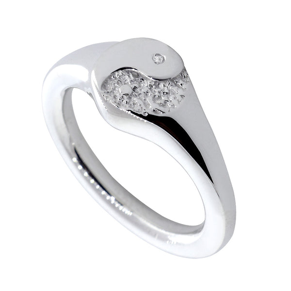 Yin Yang Ring, 8mm in 18k White Gold