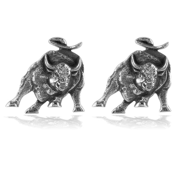 Wall Street Charging Bull Cufflinks with Black in Sterling Silver