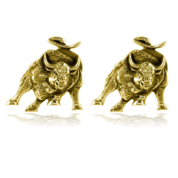 Wall Street Charging Bull Cufflinks with Black in 14K Yellow Gold
