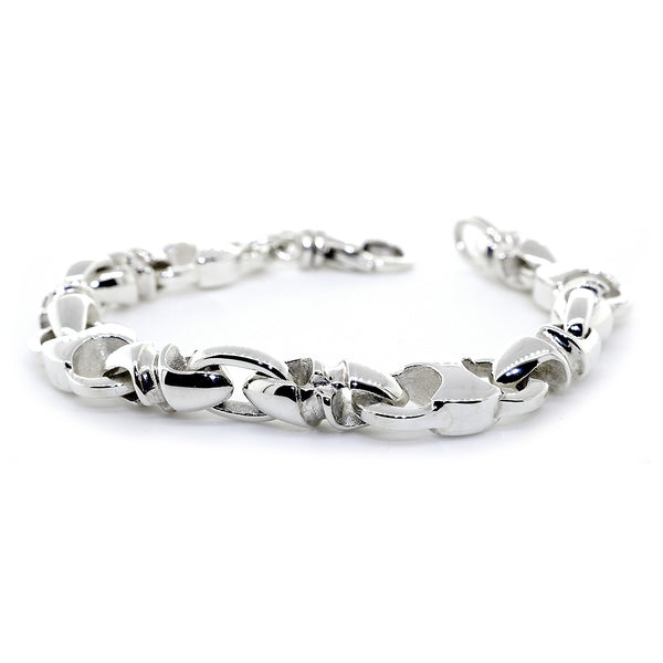 Mens Hardcore Metal Links Bracelet, 8.5 Inches in Sterling Silver