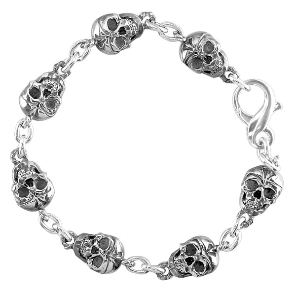Mens Solid Skull Link Bracelet with Black in 14K White Gold