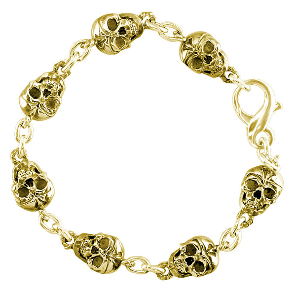 Mens Solid Skull Link Bracelet with Black in 14K Yellow Gold