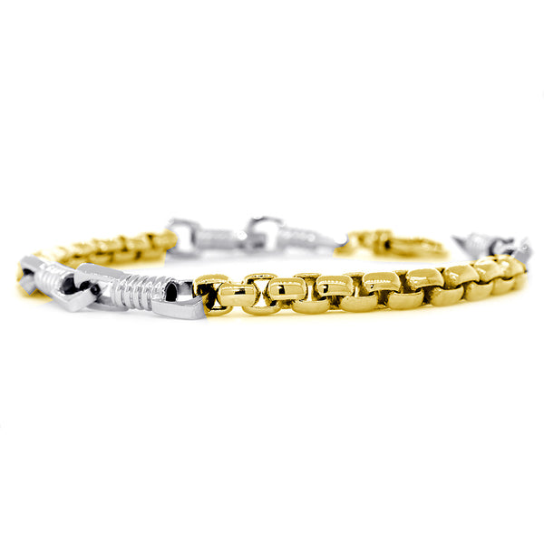 Mens Fancy and 5mm Box Links Bracelet, 8.5 Inches in 14k Two Tone Gold