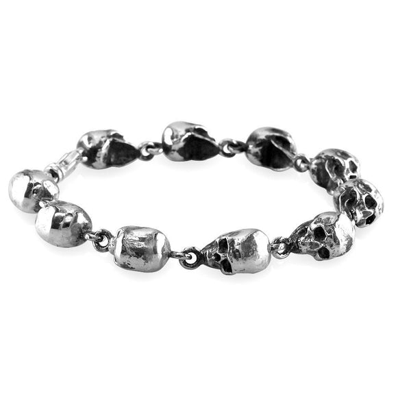 Mens Solid 3D Skull Link Bracelet with Black in Sterling Silver