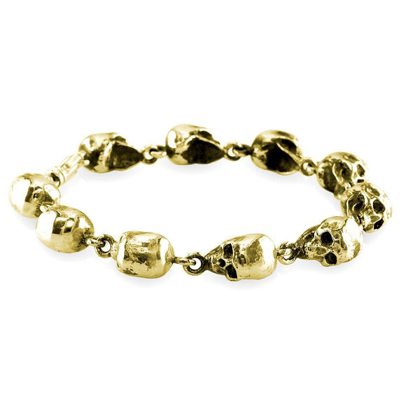 Mens Solid 3D Skull Link Bracelet with Black in 14K Yellow Gold