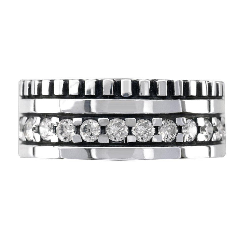 Mens Wide Band with White Diamonds, 2.15CT in 14K White Gold
