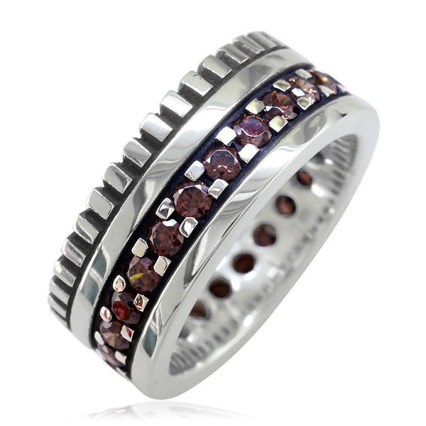 Wide Mens Eternity Style Ring, 9mm in Sterling Silver and Chocolate Brown Cubic Zirconias