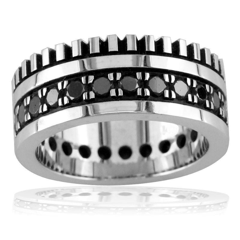 Mens Wide Band with Black Diamonds, 2.15CT in 14K Yellow Gold
