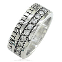 Wide Mens Ring, 9mm in Sterling Silver and Cubic Zirconias Halfway