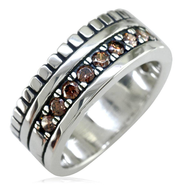 Wide Mens Ring, 9mm in Sterling Silver and Brown Cubic Zirconias Halfway