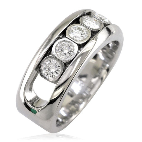 Diamonds in Motion Mens Wedding Band, 0.80CT in 14k White Gold