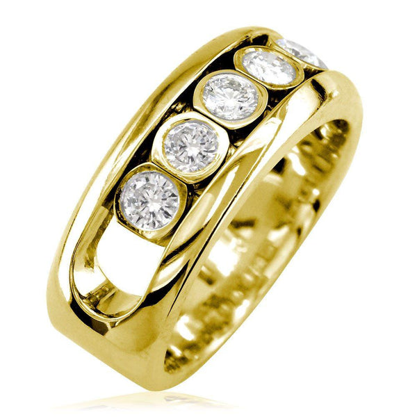 Diamonds in Motion Mens Wedding Band, 0.80CT in 18k Yellow Gold