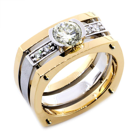 Mens Diamond Ring Setting for a 1.5CT Round, 4 Diamonds, 0.20CT in 14k Two Tone Gold