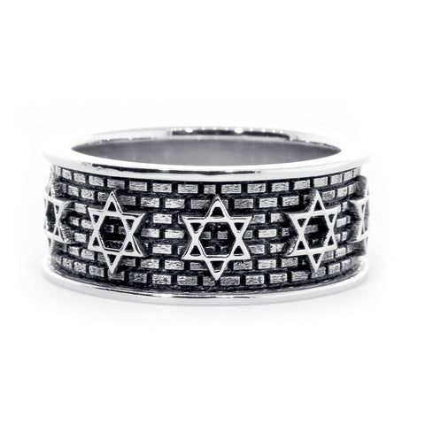 Jewish Star Of David and Brick Wall Ring with Black in 14K White Gold