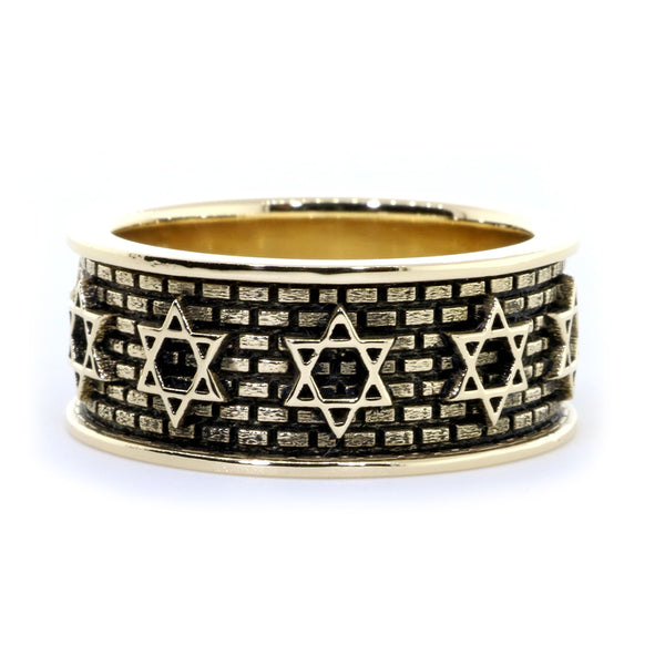 Jewish Star Of David and Brick Wall Ring with Black in 14K Yellow Gold