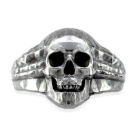Skull Ring with Black Finish, 17mm, Sterling Silver