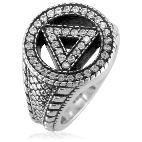 Alcoholics Anonymous AA Sobriety Ring with Cubic Zirconias, Reptile Texture, and Black in Sterling Silver