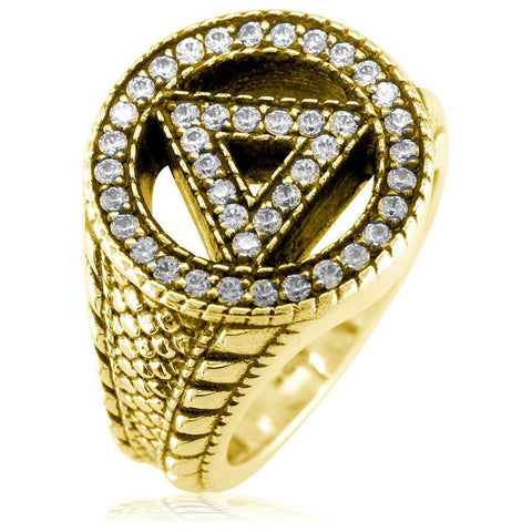 Alcoholics Anonymous AA Sobriety Ring with Cubic Zirconias, Reptile Texture, and Black in 14k Yellow Gold
