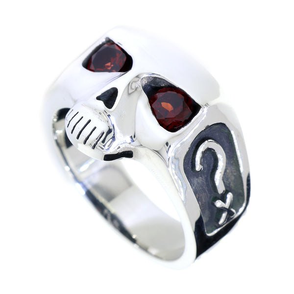 Sterling Silver Mens Skull Ring with Garnet Eyes, Question Mark X and 3 in Sterling Silver