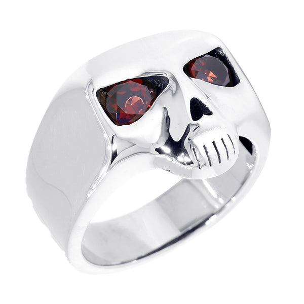 Sterling Silver Mens Skull Ring with Garnet Eyes in Sterling Silver