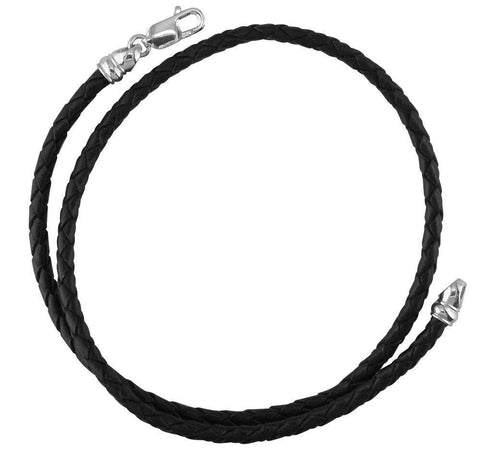 Black Braided Leather and Sterling Silver Necklace, 17.5 Inches