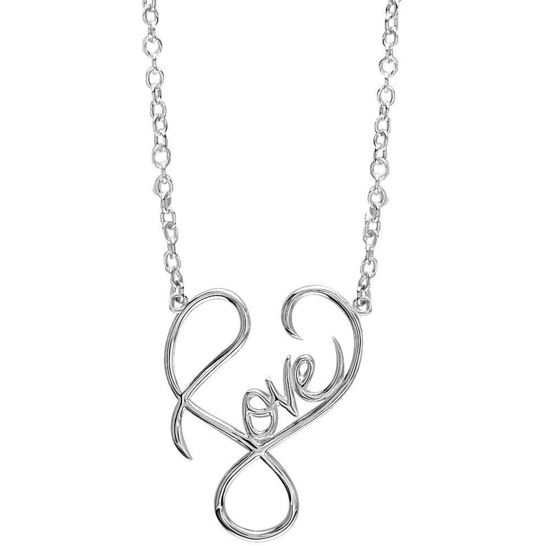 Medium Script Love Necklace in Sterling Silver