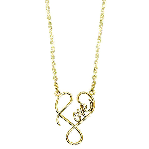 Small Script Love Necklace in 18k Yellow Gold