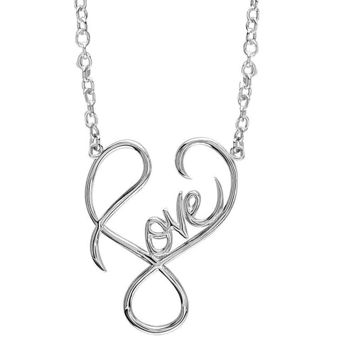 Large Script Love Necklace in 14k White Gold