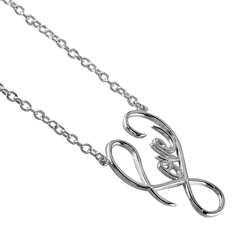 Small Script Love Necklace in Sterling Silver