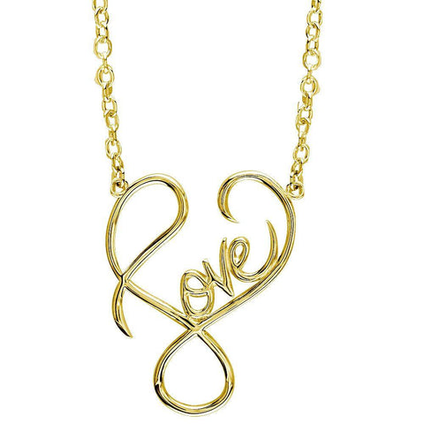 Large Script Love Necklace in 14k Yellow Gold