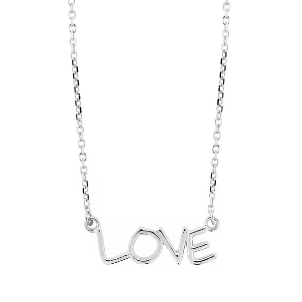 Love Nameplate Necklace in SZIRO Print, 14k White Gold
