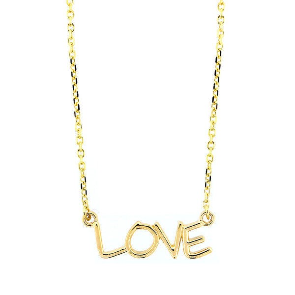 Love Nameplate Necklace in SZIRO Print, 14k Yellow Gold