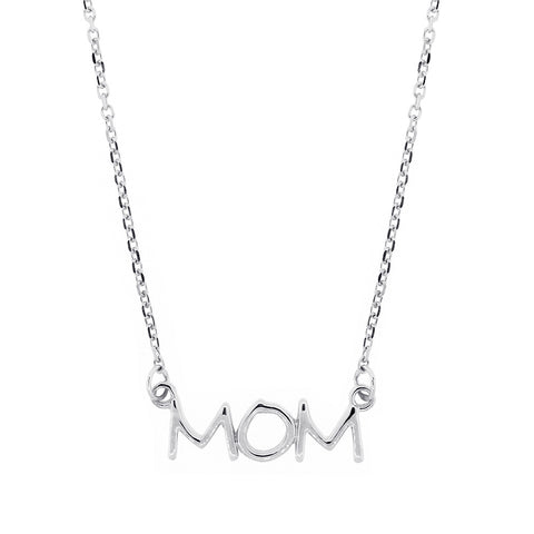 Mom Nameplate Necklace in SZIRO Print, 14k White Gold