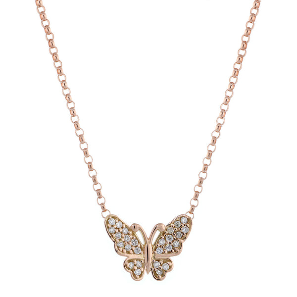 Diamond Butterfly Necklace, 0.25CT in 14K Pink, Rose Gold