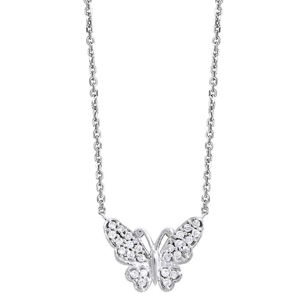 efcf910366100 Diamond Butterfly Necklace, 0.25CT in 14K White Gold