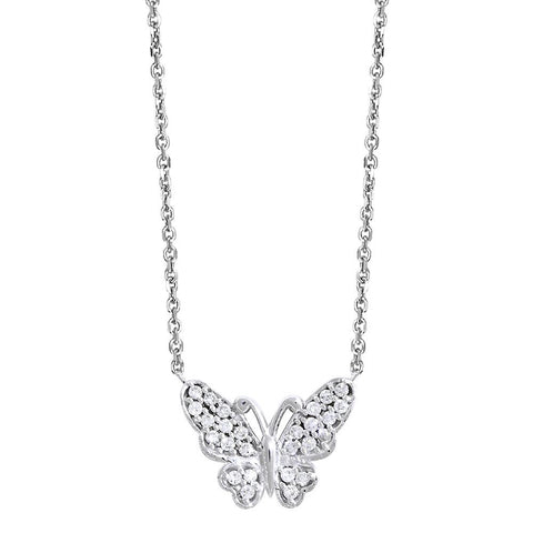 Diamond Butterfly Necklace, 0.25CT in 14k White Gold