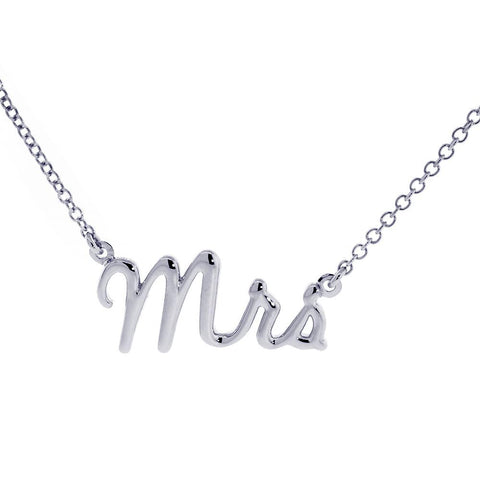 "Mrs. Necklace, 1 Inch Wide, 18"" Inch Chain in 14K White Gold"