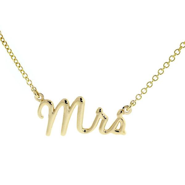 "Mrs. Necklace, 1 Inch Wide, 18"" Inch Chain in 14K Yellow Gold"
