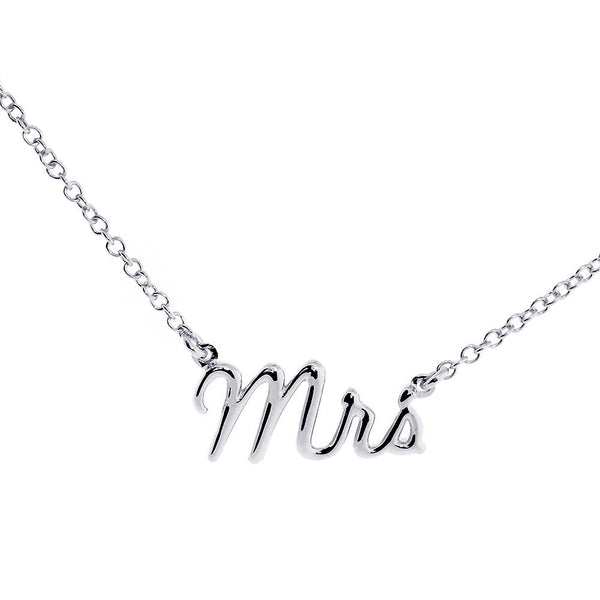 "Mrs. Necklace, 0.75 Inch Wide, 18"" Inch Chain in 14K White Gold"