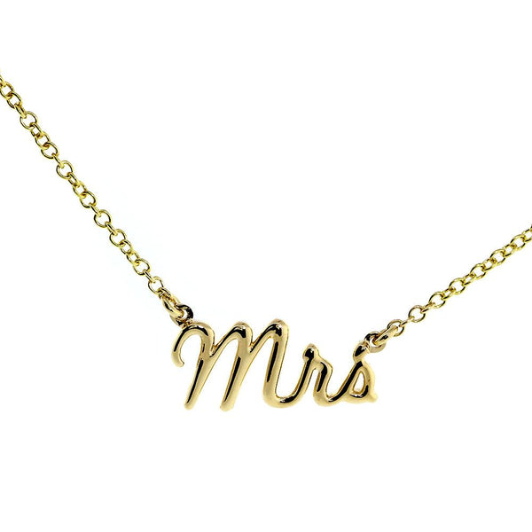 "Mrs. Necklace, 0.75 Inch Wide, 18"" Inch Chain in 14K Yellow Gold"